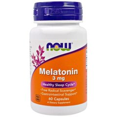 Мелатонин, Melatonin, Now Foods, 3 мг, 60 капсул