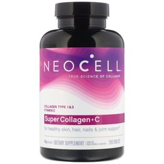 Супер Колаген, тип 1 і 3, Collagen + C, Neocell, 6000 мг, 250 таблеток