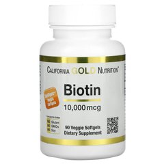 Биотин, Biotin, California Gold Nutrition, 10 000 мкг, 90 капсул