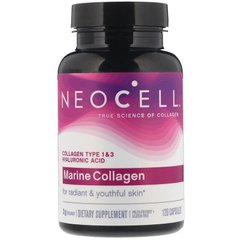 Коллаген морской, гиалуроновая кислота, Marine Collagen, Neocell 120 капсул