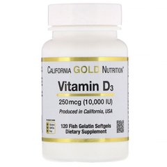 Витамин D-3, California Gold Nutrition, 250 мкг, 10000 ME, 120 капсул